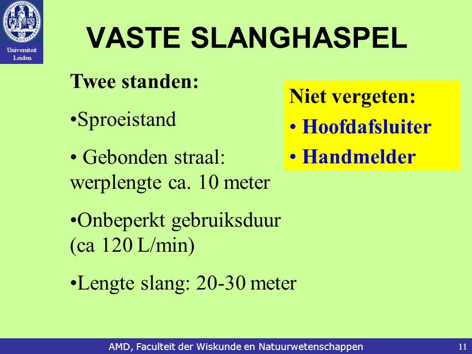 Universiteit Leiden AMD, Faculteit der Wiskunde en Natuurwetenschappen11 VASTE SLANGHASPEL Twee standen: Sproeistand Gebonden straal: werplengte ca. 1