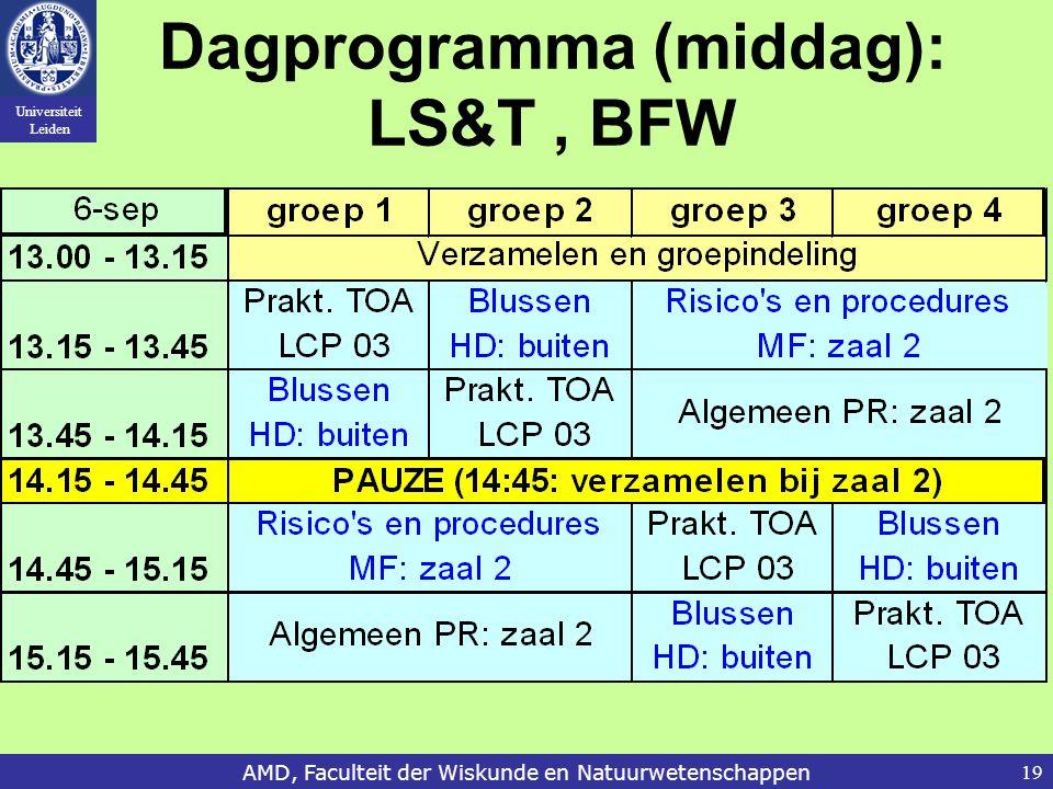 Universiteit Leiden AMD, Faculteit der Wiskunde en Natuurwetenschappen19 Dagprogramma (middag): LS&T, BFW