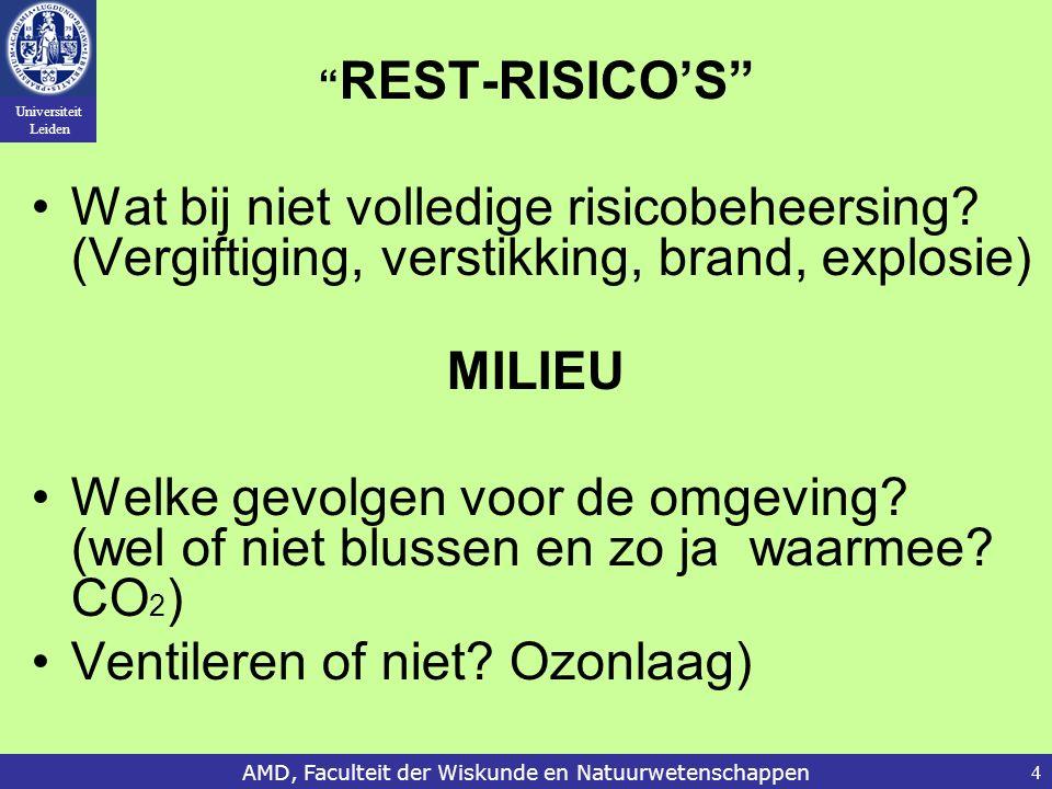 """Universiteit Leiden AMD, Faculteit der Wiskunde en Natuurwetenschappen4 """" REST-RISICO'S"""" Wat bij niet volledige risicobeheersing? (Vergiftiging, verst"""