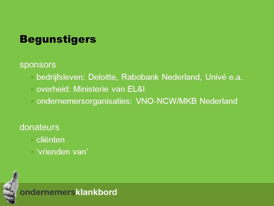 Begunstigers sponsors bedrijfsleven: Deloitte, Rabobank Nederland, Univé e.a.