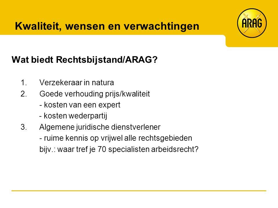 Kwaliteit, wensen en verwachtingen Wat biedt Rechtsbijstand/ARAG? 1.Verzekeraar in natura 2.Goede verhouding prijs/kwaliteit - kosten van een expert -