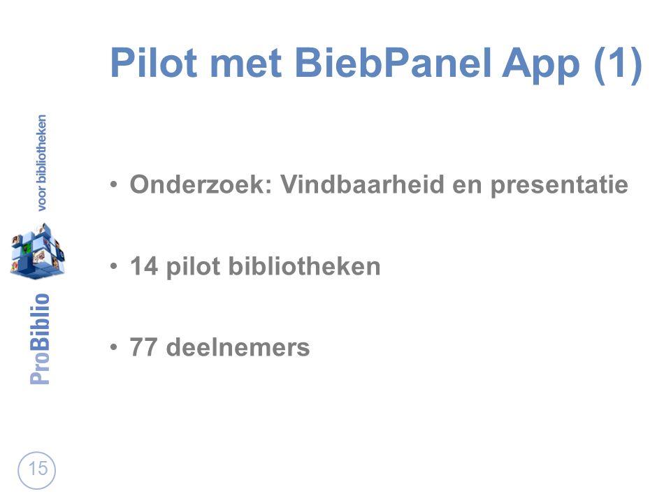Pilot met BiebPanel App (1) Onderzoek: Vindbaarheid en presentatie 14 pilot bibliotheken 77 deelnemers 15