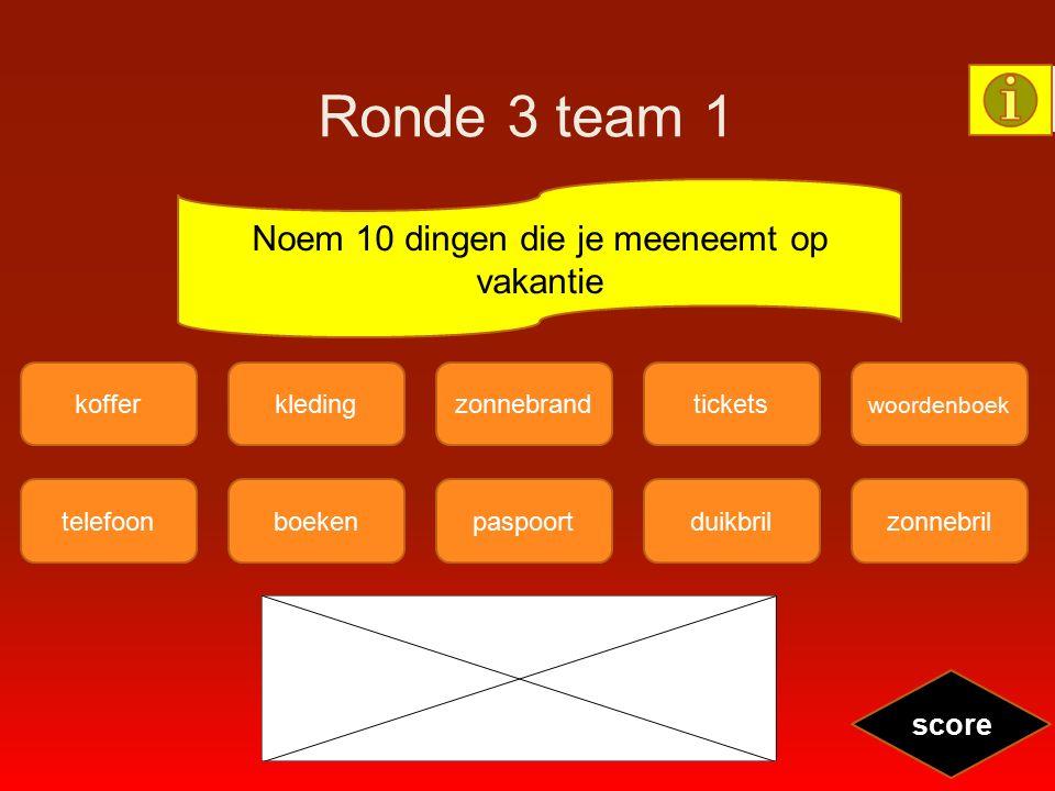 Ronde 3 team 1 telefoonzonnebrilboekenpaspoortduikbril koffer woordenboek kledingzonnebrandtickets score Noem 10 dingen die je meeneemt op vakantie