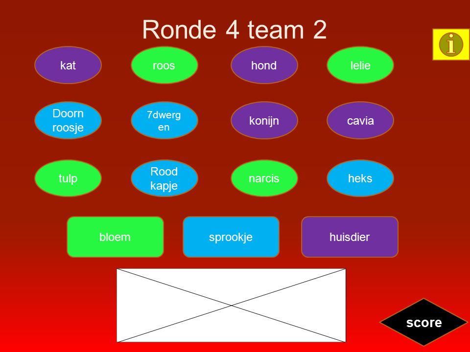 Ronde 4 team 2 katroosleliehond tulp Rood kapje heksnarcis Doorn roosje 7dwerg en caviakonijn score bloemsprookjehuisdier
