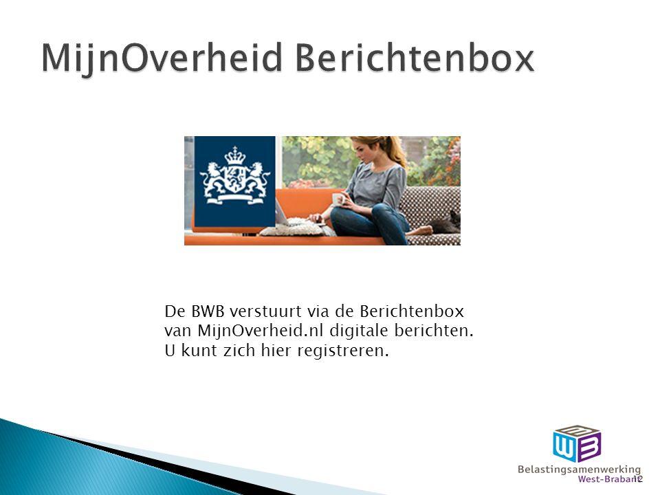 De BWB verstuurt via de Berichtenbox van MijnOverheid.nl digitale berichten.
