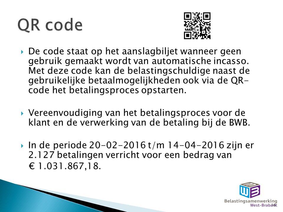  De code staat op het aanslagbiljet wanneer geen gebruik gemaakt wordt van automatische incasso.