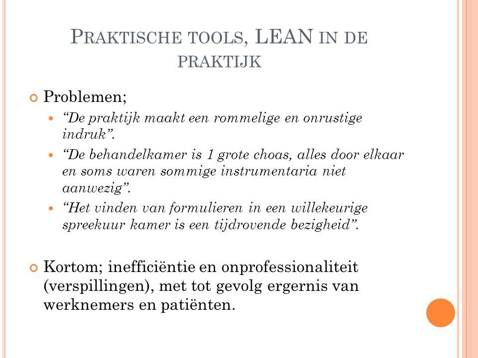 P RAKTISCHE TOOLS, LEAN IN DE PRAKTIJK Problemen; De praktijk maakt een rommelige en onrustige indruk .