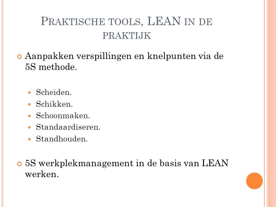 P RAKTISCHE TOOLS, LEAN IN DE PRAKTIJK Aanpakken verspillingen en knelpunten via de 5S methode.