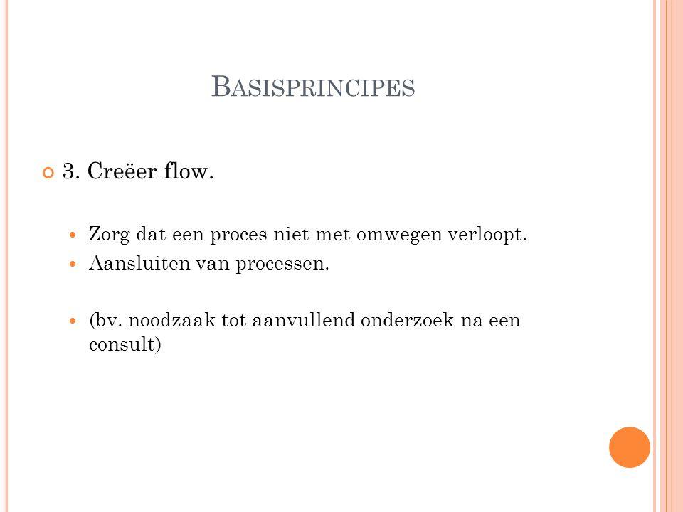 B ASISPRINCIPES 3. Creëer flow. Zorg dat een proces niet met omwegen verloopt. Aansluiten van processen. (bv. noodzaak tot aanvullend onderzoek na een