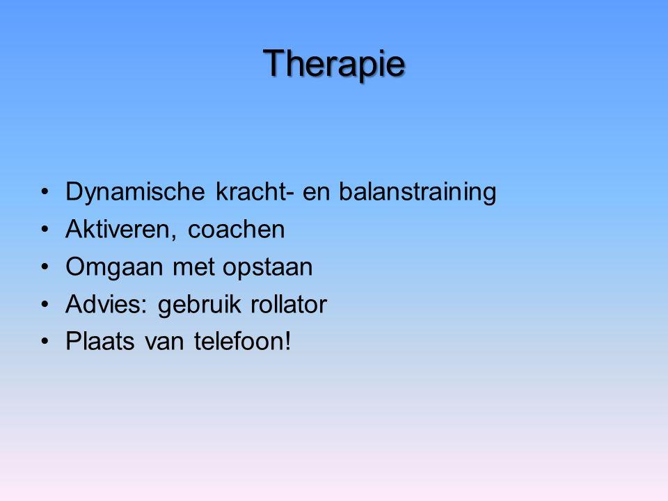 Therapie Dynamische kracht- en balanstraining Aktiveren, coachen Omgaan met opstaan Advies: gebruik rollator Plaats van telefoon!