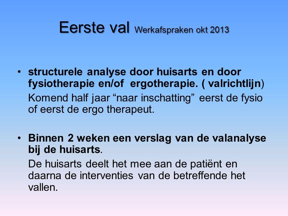 Eerste val Werkafspraken okt 2013 structurele analyse door huisarts en door fysiotherapie en/of ergotherapie.
