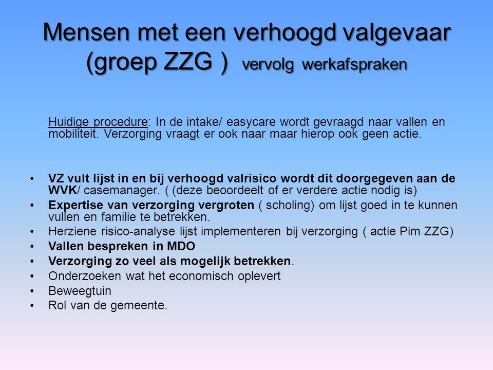 Mensen met een verhoogd valgevaar (groep ZZG ) vervolg werkafspraken Huidige procedure: In de intake/ easycare wordt gevraagd naar vallen en mobilitei