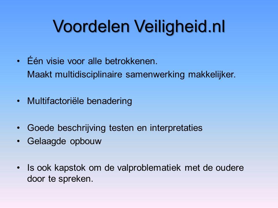 Voordelen Veiligheid.nl Één visie voor alle betrokkenen. Maakt multidisciplinaire samenwerking makkelijker. Multifactoriële benadering Goede beschrijv
