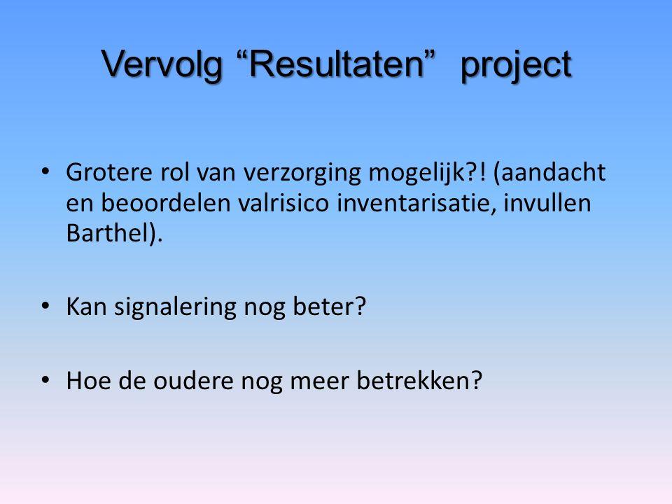 """Vervolg """"Resultaten"""" project Grotere rol van verzorging mogelijk?! (aandacht en beoordelen valrisico inventarisatie, invullen Barthel). Kan signalerin"""