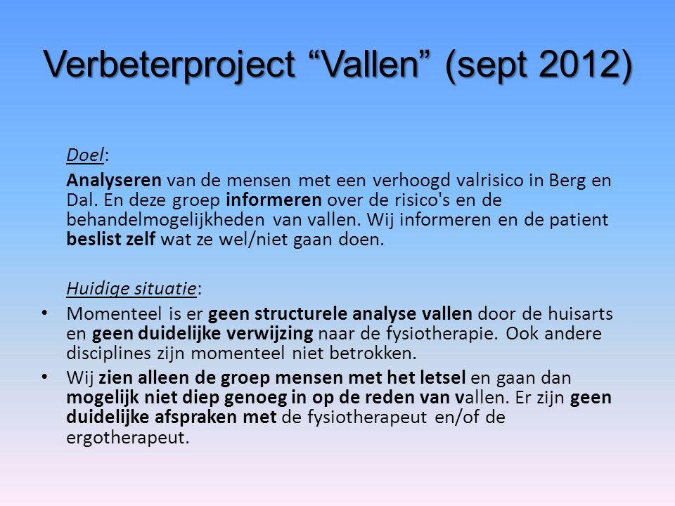 """Verbeterproject """"Vallen"""" (sept 2012) Doel: Analyseren van de mensen met een verhoogd valrisico in Berg en Dal. En deze groep informeren over de risico"""