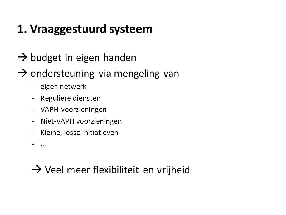 1. Vraaggestuurd systeem  budget in eigen handen  ondersteuning via mengeling van -eigen netwerk -Reguliere diensten -VAPH-voorzieningen -Niet-VAPH