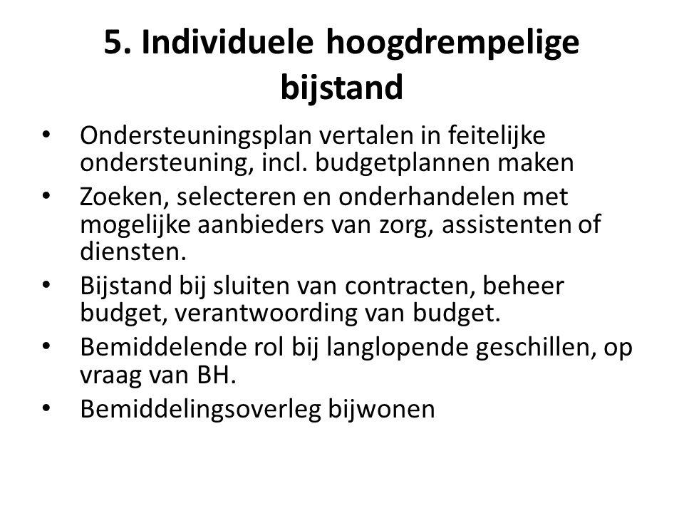 5. Individuele hoogdrempelige bijstand Ondersteuningsplan vertalen in feitelijke ondersteuning, incl. budgetplannen maken Zoeken, selecteren en onderh