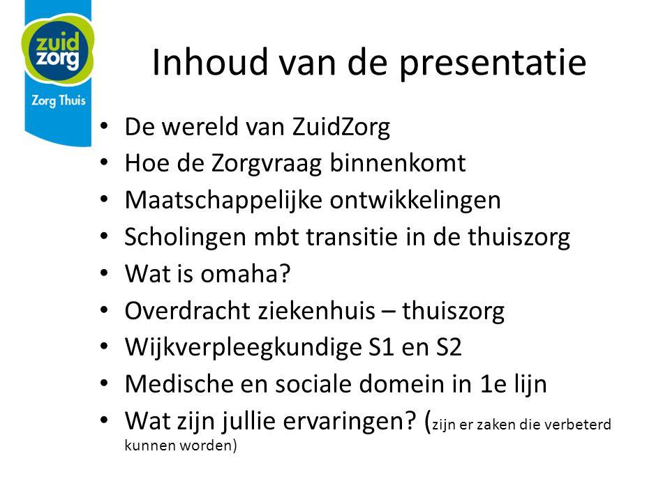 Inhoud van de presentatie De wereld van ZuidZorg Hoe de Zorgvraag binnenkomt Maatschappelijke ontwikkelingen Scholingen mbt transitie in de thuiszorg Wat is omaha.