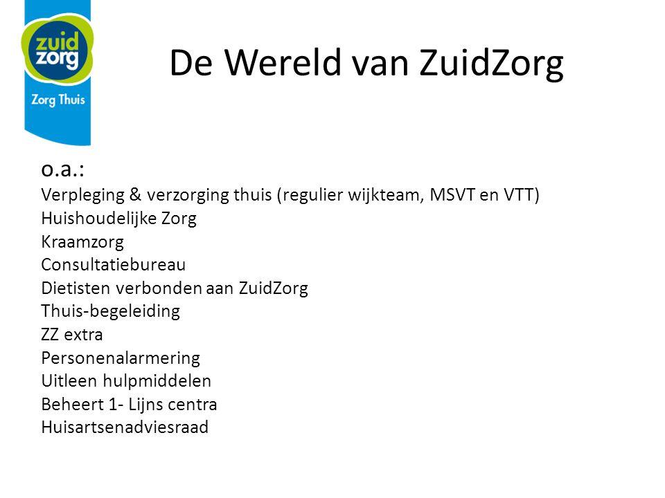 De Wereld van ZuidZorg o.a.: Verpleging & verzorging thuis (regulier wijkteam, MSVT en VTT) Huishoudelijke Zorg Kraamzorg Consultatiebureau Dietisten