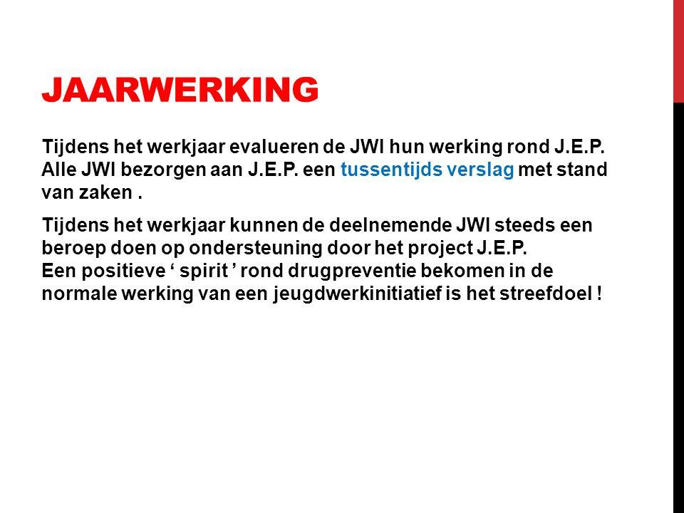 JAARWERKING Tijdens het werkjaar evalueren de JWI hun werking rond J.E.P. Alle JWI bezorgen aan J.E.P. een tussentijds verslag met stand van zaken. Ti