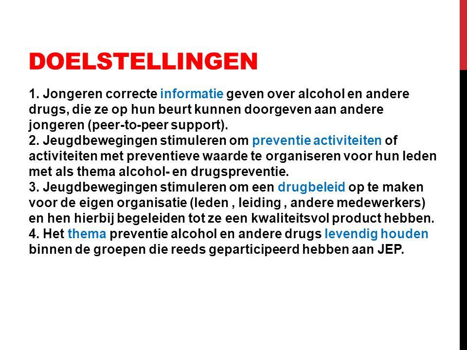 DOELSTELLINGEN 1. Jongeren correcte informatie geven over alcohol en andere drugs, die ze op hun beurt kunnen doorgeven aan andere jongeren (peer-to-p