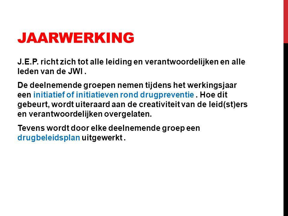 JAARWERKING J.E.P. richt zich tot alle leiding en verantwoordelijken en alle leden van de JWI. De deelnemende groepen nemen tijdens het werkingsjaar e