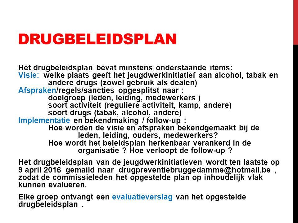 DRUGBELEIDSPLAN Het drugbeleidsplan bevat minstens onderstaande items: Visie: welke plaats geeft het jeugdwerkinitiatief aan alcohol, tabak en andere