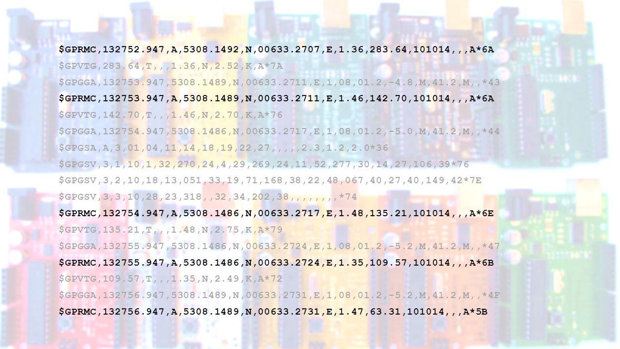 $GPRMC,132752.947,A,5308.1492,N,00633.2707,E,1.36,283.64,101014,,,A*6A $GPRMC,132753.947,A,5308.1489,N,00633.2711,E,1.46,142.70,101014,,,A*6A $GPRMC,132754.947,A,5308.1486,N,00633.2717,E,1.48,135.21,101014,,,A*6E $GPRMC,132755.947,A,5308.1486,N,00633.2724,E,1.35,109.57,101014,,,A*6B $GPRMC,132756.947,A,5308.1489,N,00633.2731,E,1.47,063.31,101014,,,A*5B