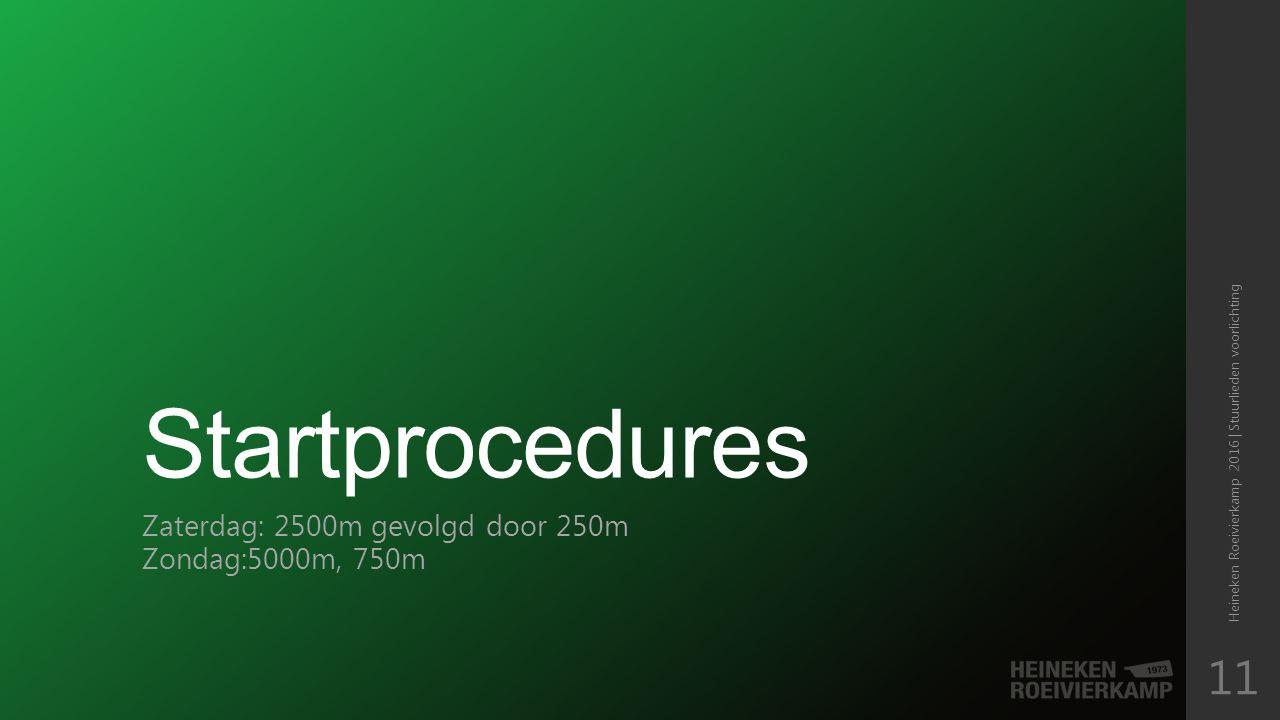 Startprocedures Zaterdag: 2500m gevolgd door 250m Zondag:5000m, 750m Heineken Roeivierkamp 2016 | Stuurlieden voorlichting 11