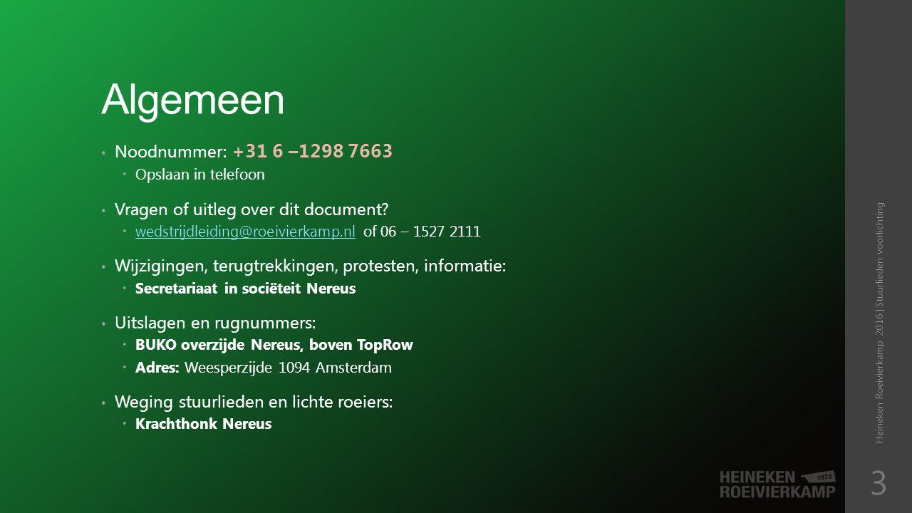 Algemeen Razende reporters, weerinformatie, en live uitslagen te vinden op:  http://www.roeivierkamp.nl/ http://www.roeivierkamp.nl/ Prijsuitreiking voor de divisies 19 t/m 41 is op zondag om 17:00 Prijsuitreiking voor divisies 1 t/m 18 en 42, 43 is zondag om 20:30 Aansluitend feest.