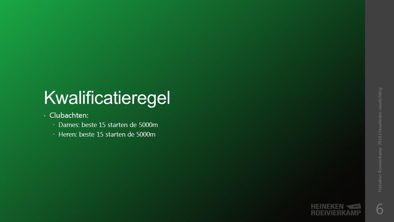 Kwalificatieregel Clubachten:  Dames: beste 15 starten de 5000m  Heren: beste 15 starten de 5000m Heineken Roeivierkamp 2016 | Stuurlieden voorlichting 6