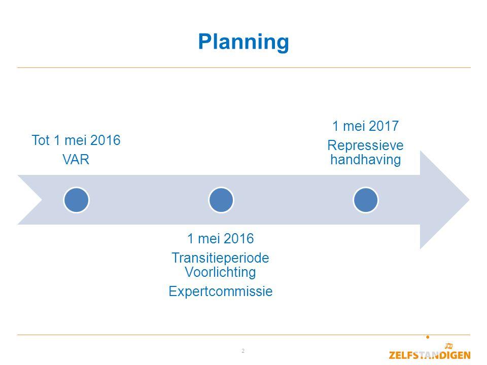 2 Planning Tot 1 mei 2016 VAR 1 mei 2016 Transitieperiode Voorlichting Expertcommissie 1 mei 2017 Repressieve handhaving