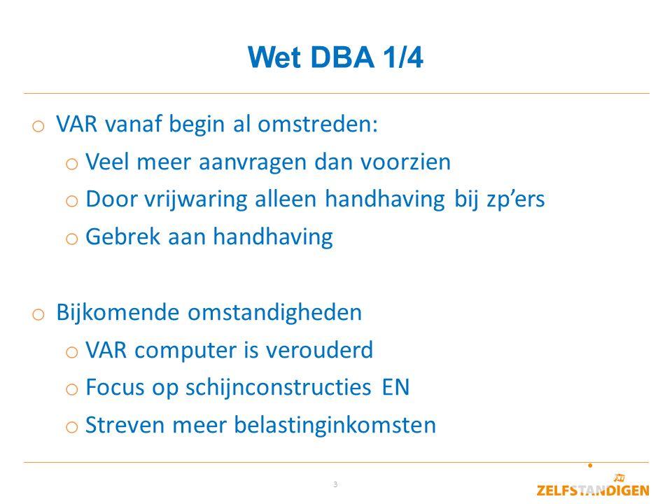 3 Wet DBA 1/4 o VAR vanaf begin al omstreden: o Veel meer aanvragen dan voorzien o Door vrijwaring alleen handhaving bij zp'ers o Gebrek aan handhavin