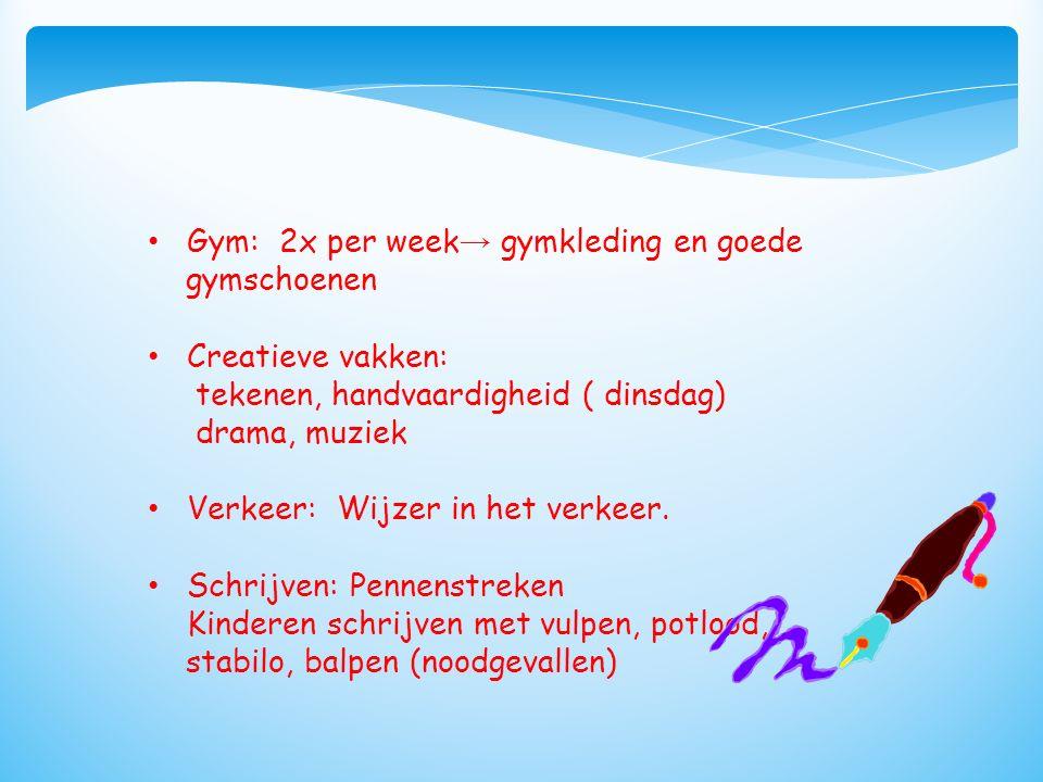 Gym: 2x per week → gymkleding en goede gymschoenen Creatieve vakken: tekenen, handvaardigheid ( dinsdag) drama, muziek Verkeer: Wijzer in het verkeer.