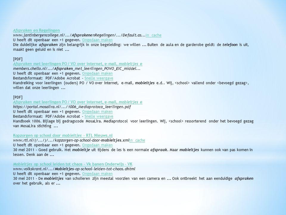 Afspraken en Regelingen www.jantinbergencollege.nl/.../AfsprakenenRegelingen/.../Default.as...In cacheIn cache U heeft dit openbaar een +1 gegeven.