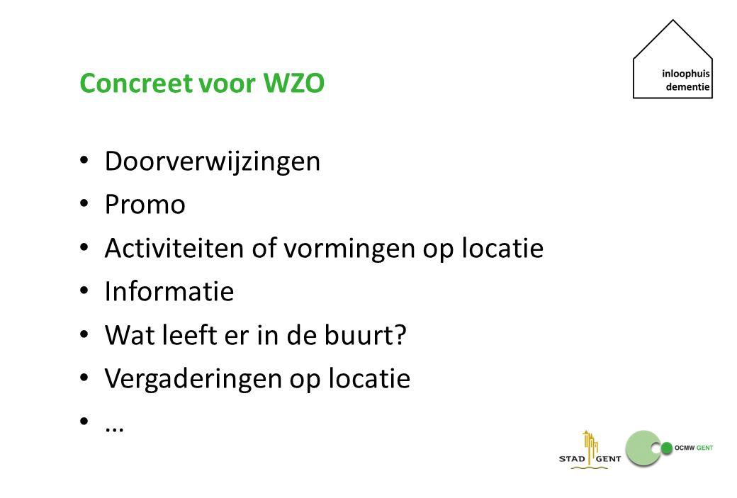 Concreet voor WZO Doorverwijzingen Promo Activiteiten of vormingen op locatie Informatie Wat leeft er in de buurt? Vergaderingen op locatie …