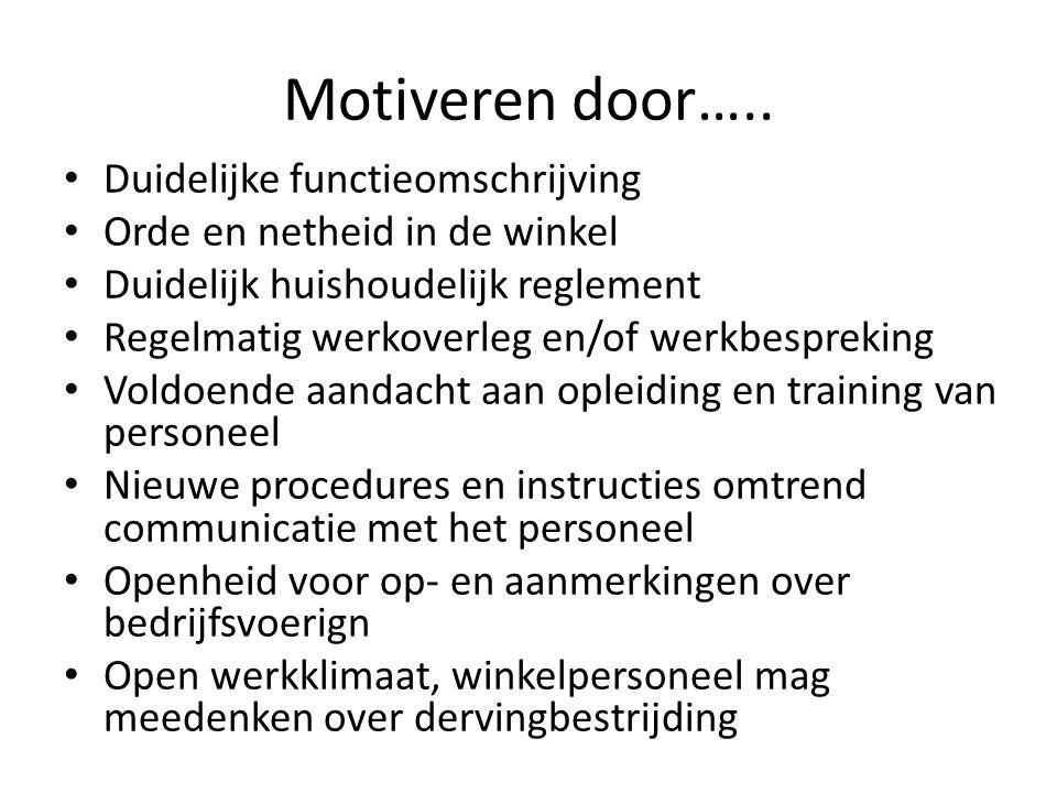 Motiveren door….. Duidelijke functieomschrijving Orde en netheid in de winkel Duidelijk huishoudelijk reglement Regelmatig werkoverleg en/of werkbespr