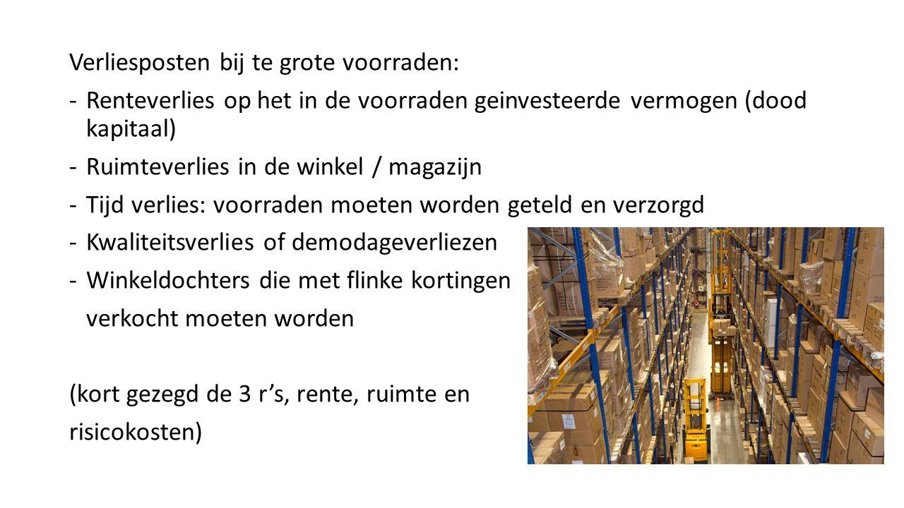 Verliesposten bij te grote voorraden: -Renteverlies op het in de voorraden geinvesteerde vermogen (dood kapitaal) -Ruimteverlies in de winkel / magazi