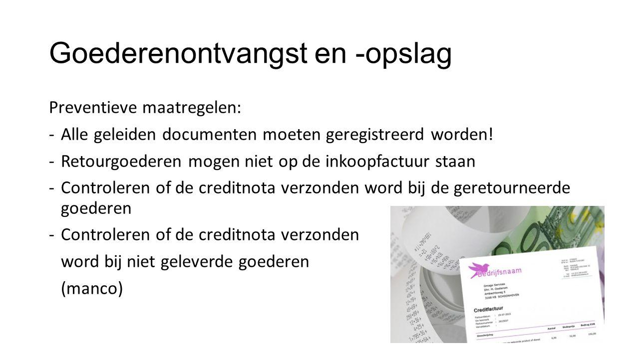Goederenontvangst en -opslag Preventieve maatregelen: -Alle geleiden documenten moeten geregistreerd worden! -Retourgoederen mogen niet op de inkoopfa