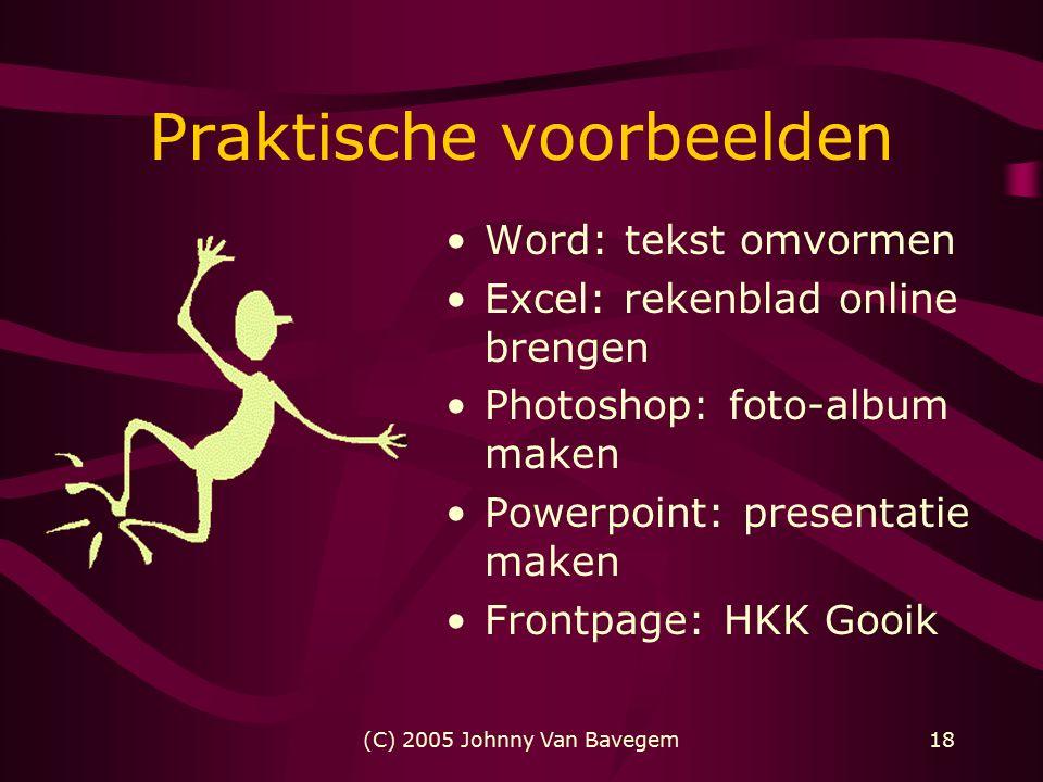 (C) 2005 Johnny Van Bavegem18 Praktische voorbeelden Word: tekst omvormen Excel: rekenblad online brengen Photoshop: foto-album maken Powerpoint: presentatie maken Frontpage: HKK Gooik