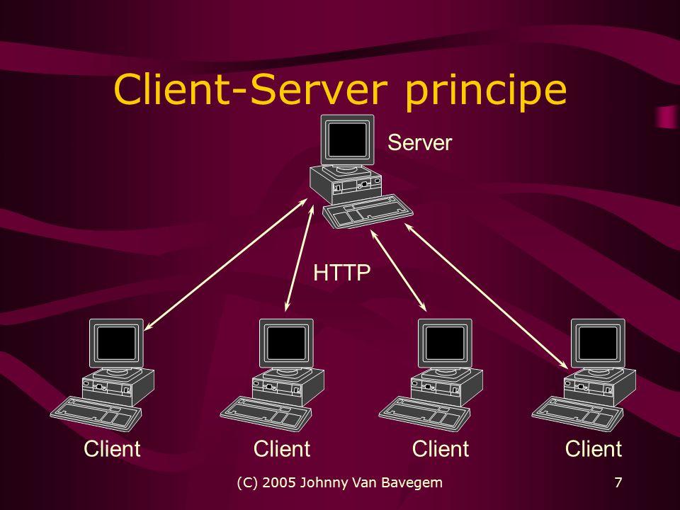 (C) 2005 Johnny Van Bavegem7 Client-Server principe Server Client HTTP