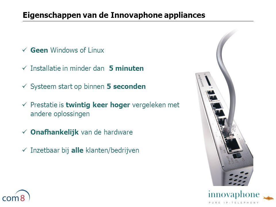 Geen Windows of Linux Installatie in minder dan 5 minuten Systeem start op binnen 5 seconden Prestatie is twintig keer hoger vergeleken met andere oplossingen Onafhankelijk van de hardware Inzetbaar bij alle klanten/bedrijven Eigenschappen van de Innovaphone appliances