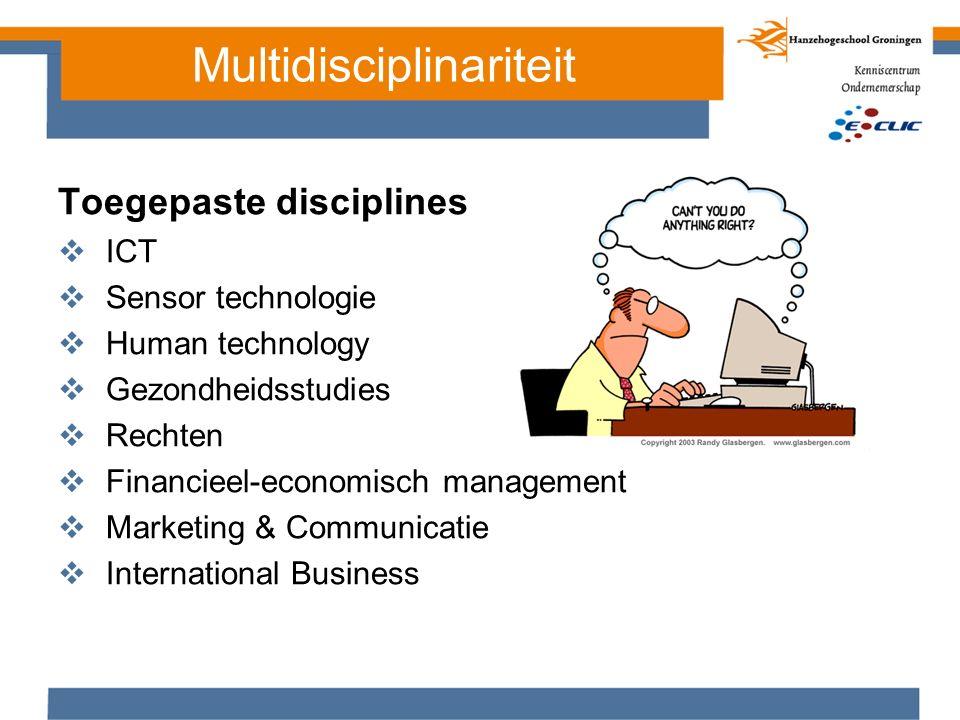 Toegepaste disciplines  ICT  Sensor technologie  Human technology  Gezondheidsstudies  Rechten  Financieel-economisch management  Marketing & C