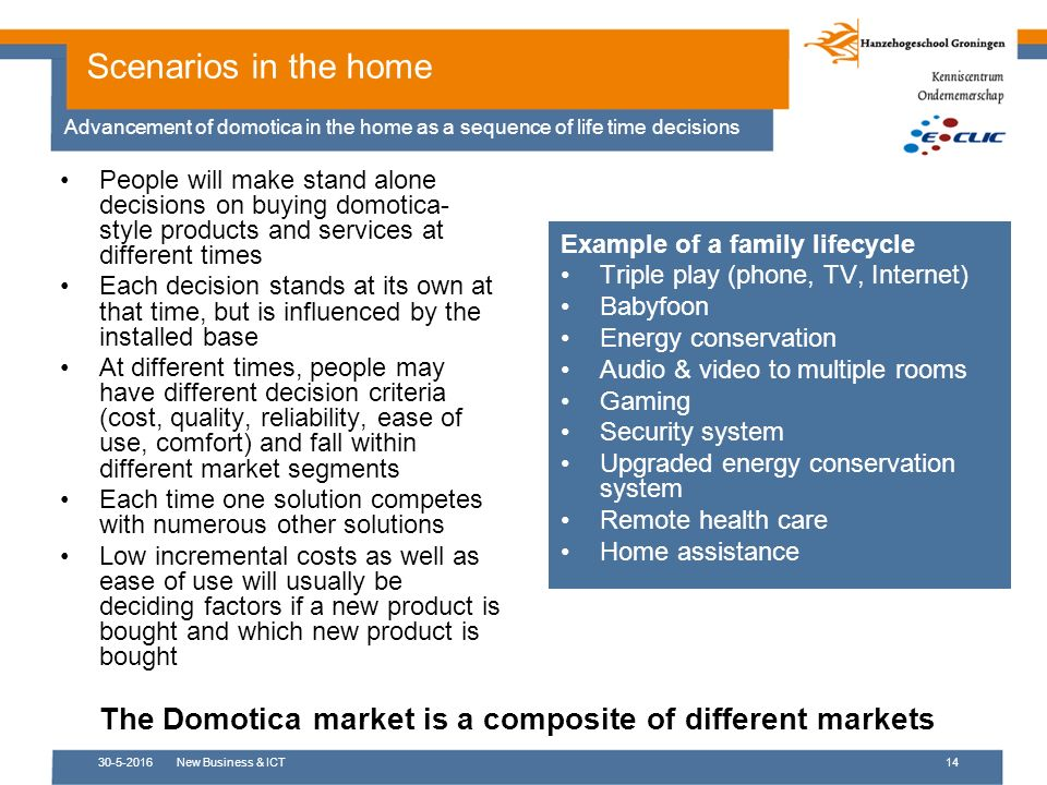 30-5-2016New Business & ICT14 Scenarios in the home Advancement of domotica in the home as a sequence of life time decisions Example of a family lifecycle Triple play (phone, TV, Internet) Babyfoon Energy conservation Audio & video to multiple rooms Gaming Security system Upgraded energy conservation system Remote health care Home assistance People will make stand alone decisions on buying domotica- style products and services at different times Each decision stands at its own at that time, but is influenced by the installed base At different times, people may have different decision criteria (cost, quality, reliability, ease of use, comfort) and fall within different market segments Each time one solution competes with numerous other solutions Low incremental costs as well as ease of use will usually be deciding factors if a new product is bought and which new product is bought The Domotica market is a composite of different markets