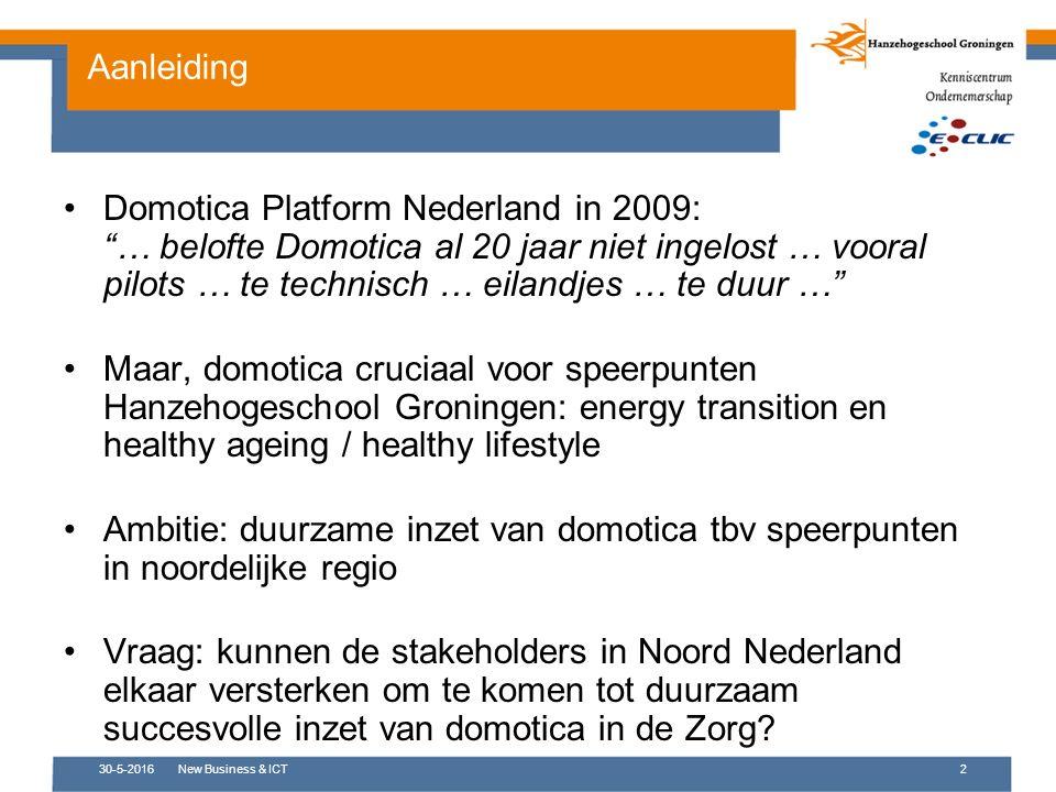 30-5-2016New Business & ICT2 Domotica Platform Nederland in 2009: … belofte Domotica al 20 jaar niet ingelost … vooral pilots … te technisch … eilandjes … te duur … Maar, domotica cruciaal voor speerpunten Hanzehogeschool Groningen: energy transition en healthy ageing / healthy lifestyle Ambitie: duurzame inzet van domotica tbv speerpunten in noordelijke regio Vraag: kunnen de stakeholders in Noord Nederland elkaar versterken om te komen tot duurzaam succesvolle inzet van domotica in de Zorg.