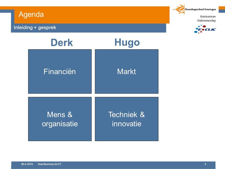 30-5-2016New Business & ICT4 Agenda Inleiding + gesprek FinanciënMarkt Techniek & innovatie Mens & organisatie Derk Hugo