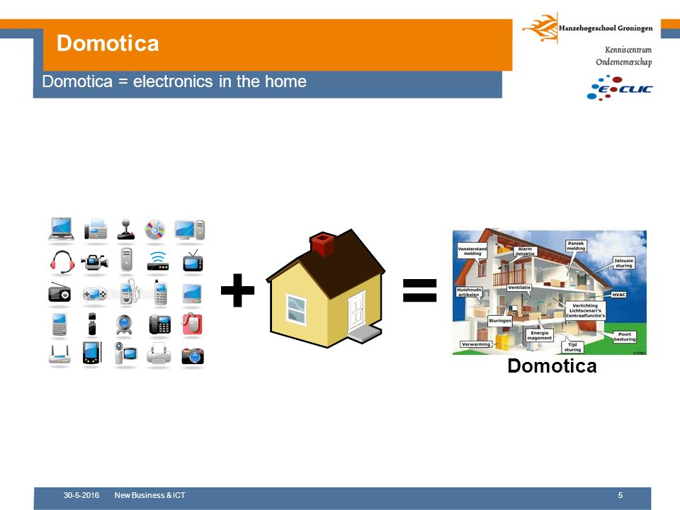 30-5-2016New Business & ICT5 Domotica += Domotica = electronics in the home