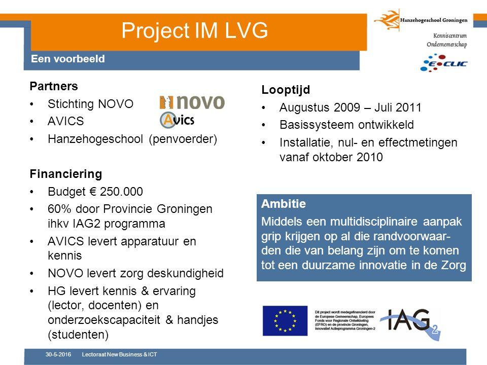 Project IM LVG Partners Stichting NOVO AVICS Hanzehogeschool (penvoerder) Financiering Budget € 250.000 60% door Provincie Groningen ihkv IAG2 program