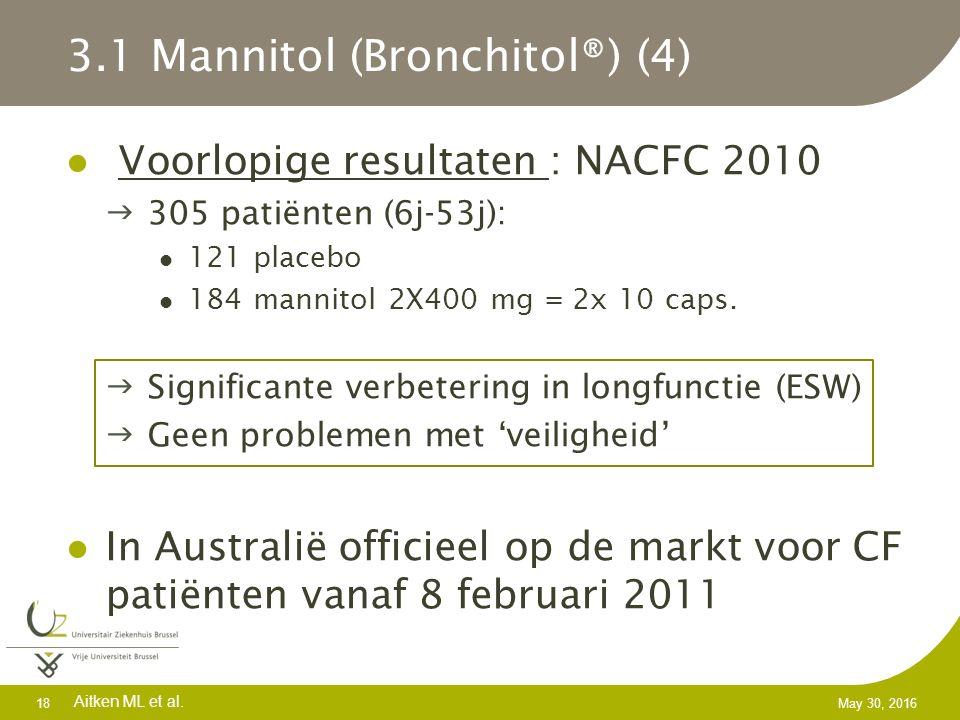 3.1 Mannitol (Bronchitol®) (4) Voorlopige resultaten : NACFC 2010 305 patiënten (6j-53j): 121 placebo 184 mannitol 2X400 mg = 2x 10 caps.