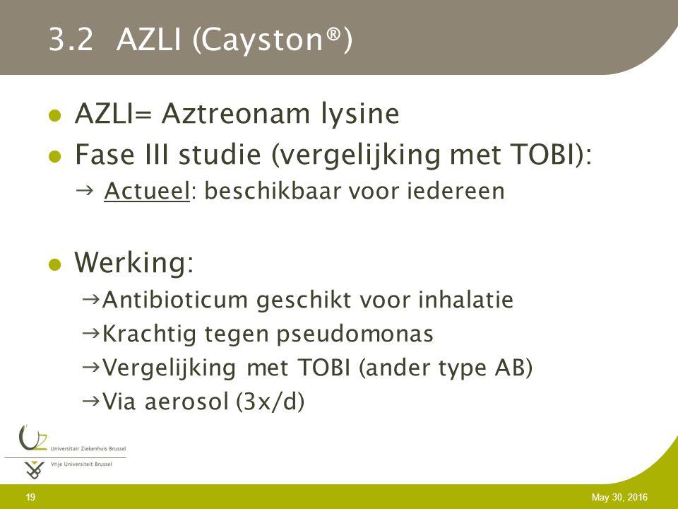 19 May 30, 2016 3.2 AZLI (Cayston®) AZLI= Aztreonam lysine Fase III studie (vergelijking met TOBI): Actueel: beschikbaar voor iedereen Werking: Antibioticum geschikt voor inhalatie Krachtig tegen pseudomonas Vergelijking met TOBI (ander type AB) Via aerosol (3x/d)